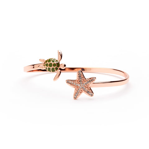 Sea Turtle and Starfish Full Copper Oceanic Bangle Bracelet (MOQ 2)