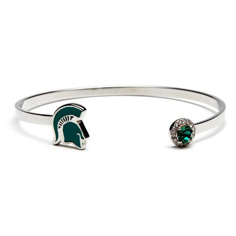 <B><I>BEST SELLER!</B></I> MSU Spartan Helmet with Green & Clear Crystal Bangle Bracelet Jewelry (MOQ 2)