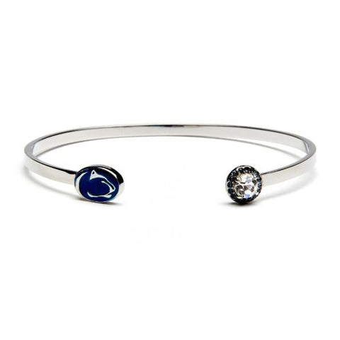 <B><I>BEST SELLER!</B></I> PSU Nittany Lion with Clear & Navy Crystal Bangle Bracelet (MOQ 2)