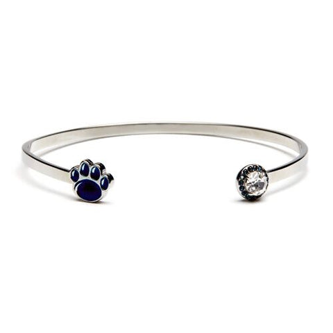 Penn State Bracelet Bangle: Navy Paw with Clear & Navy Crystal (MOQ 2)
