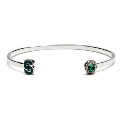 MSU Block S with Green & Clear Crystal Bangle Bracelet (MOQ 2)