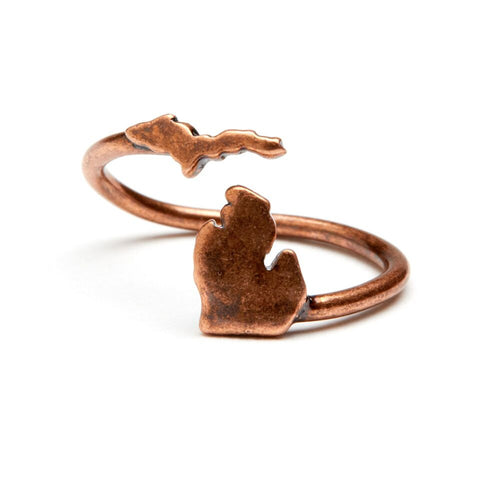 <B><I>BEST SELLER!</B></I> Michigan Map Ring - Antique Copper Plated Brass (MOQ 2)