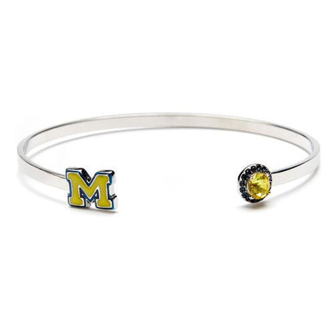 University of Michigan Maize M with Crystal Bangle Bracelet - Stainless Steel (MOQ 2)