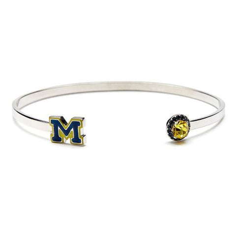 <B><I>BEST SELLER!</B></I> University of Michigan Blue M with Crystal Bangle Bracelet - Stainless Steel (MOQ 2)