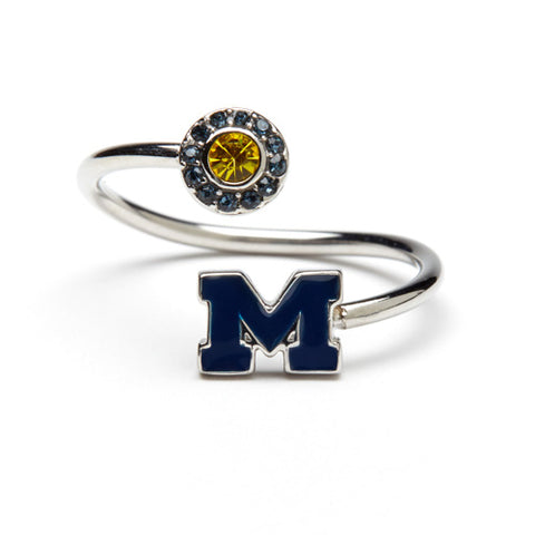 <B><I>BEST SELLER!</B></I> University of Michigan Blue M Ring with Crystals (MOQ 2)