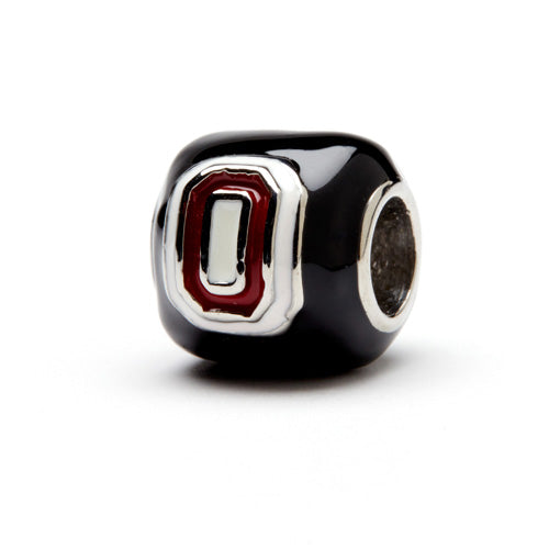 Black Ohio State Block O and Buckeye Leaf Bead (MOQ 2)