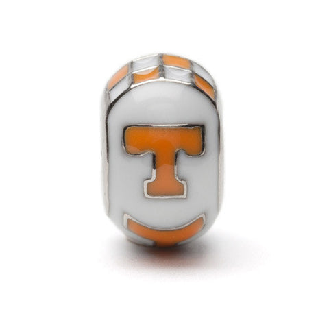 Tennessee T Logo Bead Charm White with Orange (MOQ 2)