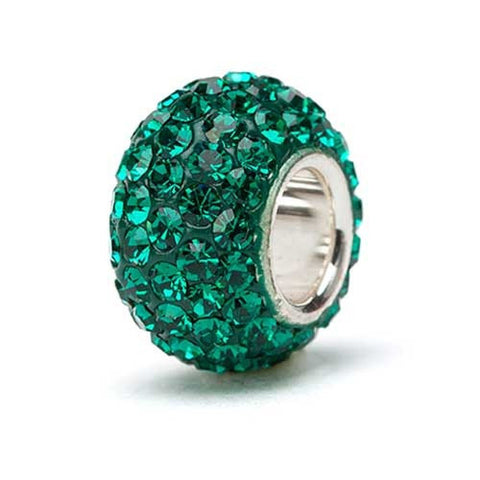 Green Crystal Bead Charm silver core (2 MOQ)