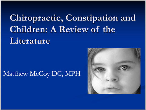 Constipation & Chiropractic - Educational Presentations