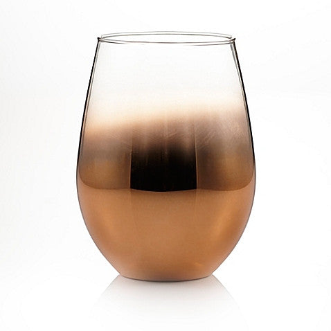 Ombre Stemless Wine Glasses in silver or Copper (Set of 4)