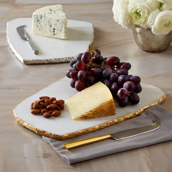 White Marble Cheese Plate With Knife - comes in 2 colors