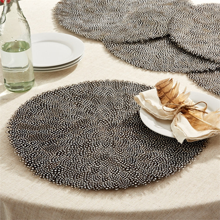 Set Of 6 Guinea Feather Placemats