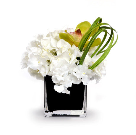 "WHITE HYDRANGEA BOUQUET 4"" BLACK SQUARE by Emillio Robba"