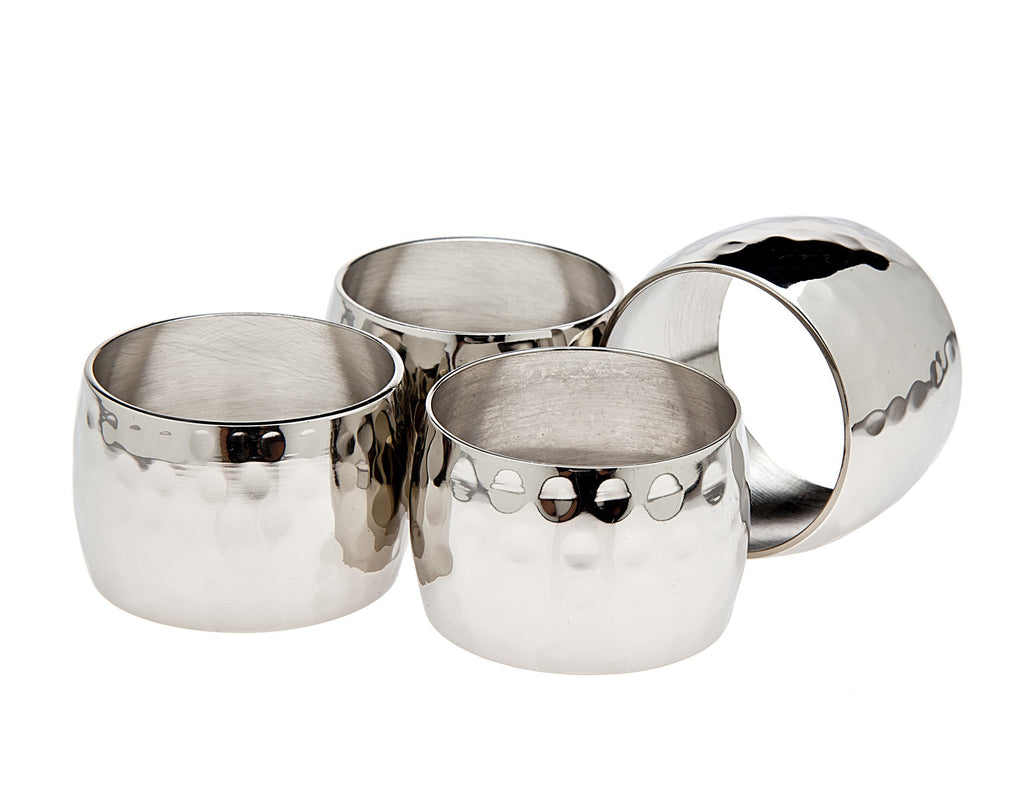 Round Hammered Napkin Rings Set of 4