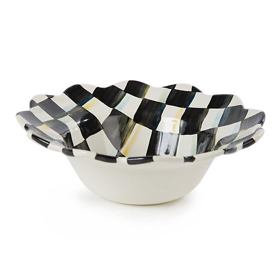 Courtly Check Enamel Petal Breakfast Bowl by MacKenzie-Childs