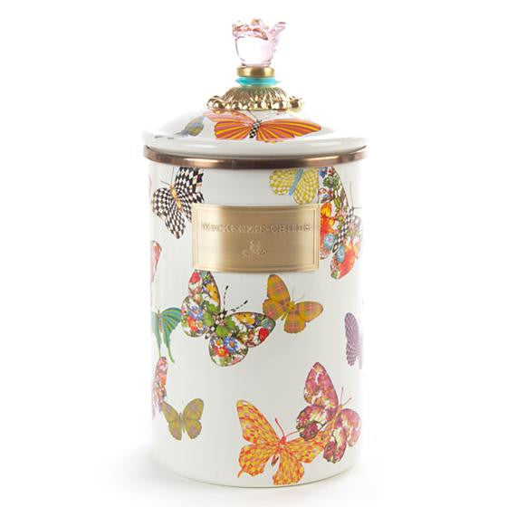 Butterfly Garden Large Canister - White by Mackenzie-Childs