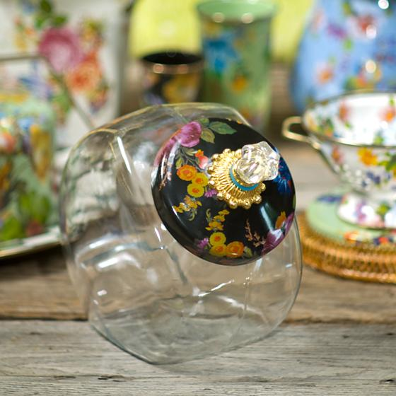 Cookie Jar with Flower Market Enamel Lid - Black by Mackenzie Childs