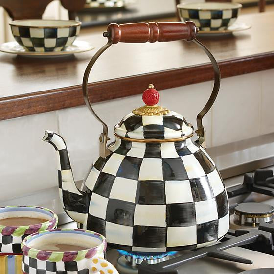Courtly Check Enamel Tea Kettle - 2 or 3 Quart by MacKenzie-Childs