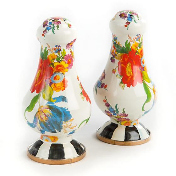 Flower Market Large Salt & Pepper Shakers - White by MacKenzie-Childs