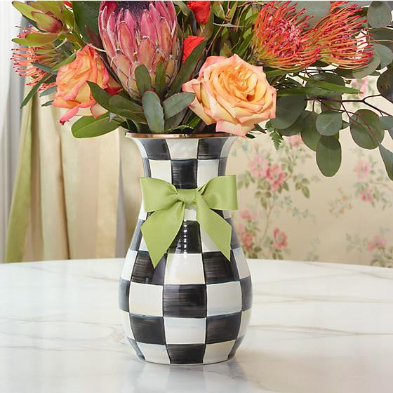 Courtly Check Enamel Vase - Tall