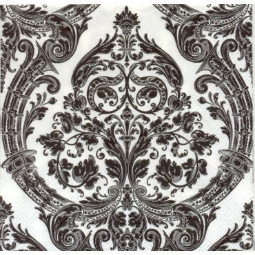 Grandeur White/Black Lunch Napkin