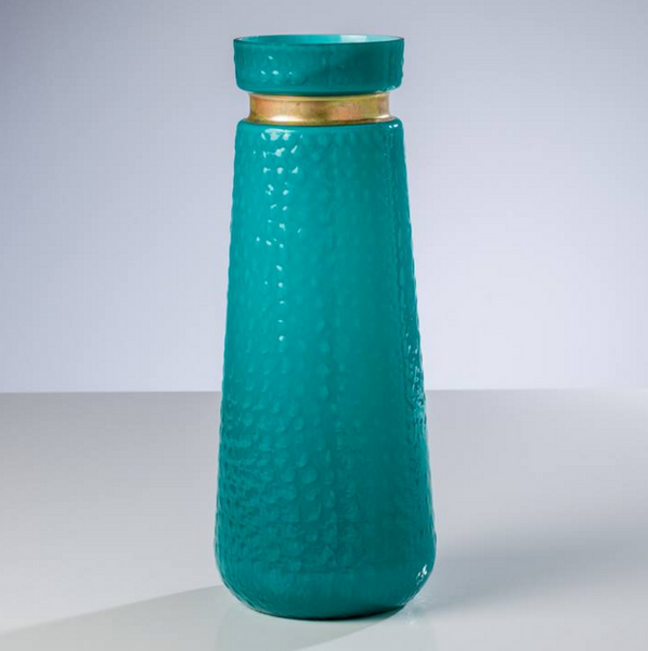 Metal Collar Vase Teal or white