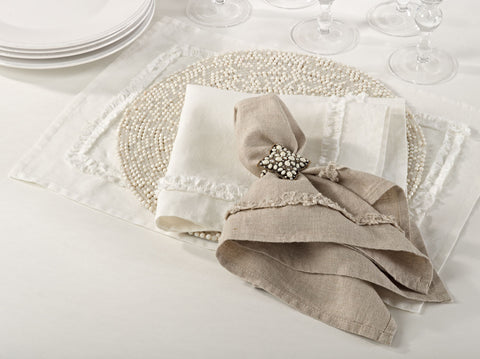 Mathilde napkins sets of four - Ivory