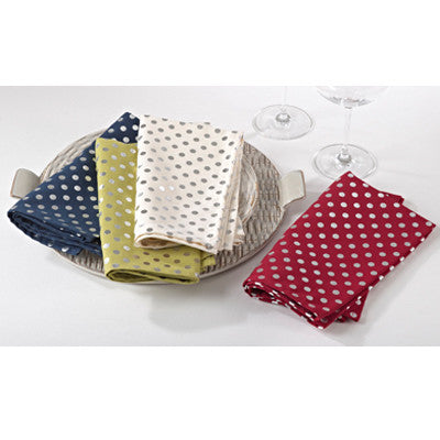 Lucia napkins sets of four- silver dot on ivory