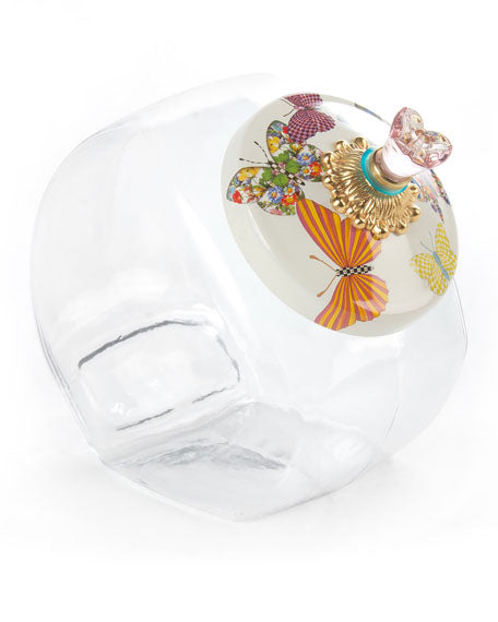 Cookie Jar with White Butterfly Garden Lid by Mackenzie Childs