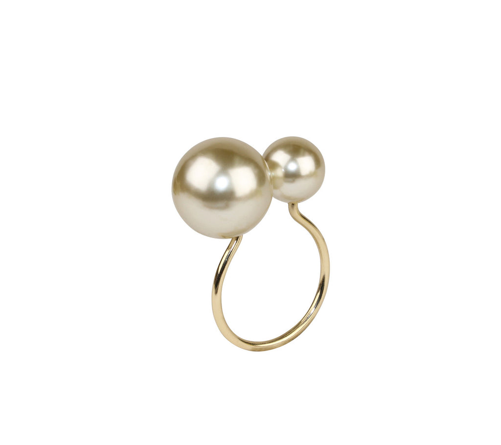 PEARL NAPKIN RING IN CHAMPAGNE & GOLD