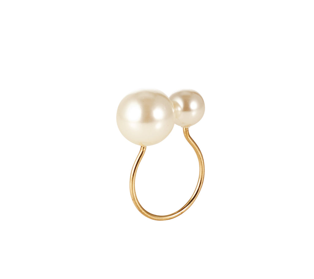 PEARL NAPKIN RING IN IVORY & GOLD