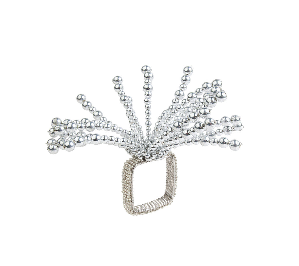 FIREWORKS NAPKIN RING IN SILVER