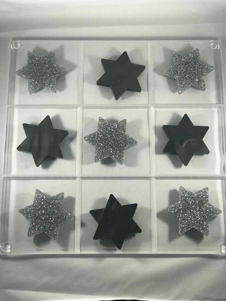 Marble & Glitter Star of David Acrylic Tic-Tac-Toe
