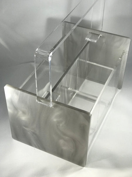 Deluxe Marble / Glitter Acrylic Silverware Caddy
