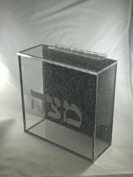 Acrylic Square Glitter Matza Box with hinge
