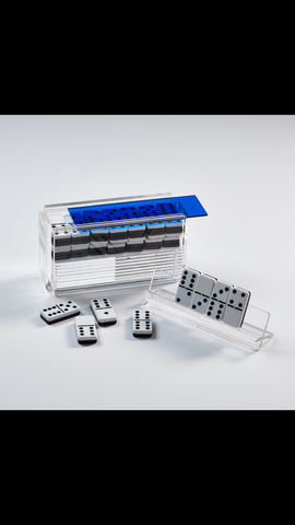 """El Catire"" Acrylic Domino Set with Racks variety of colors"