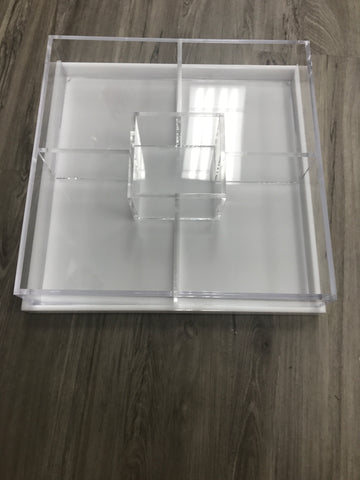 Acrylic 5 sectional with White tray/cover