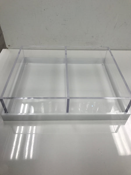 Acrylic 2 sectional trays with white  OR  clear lid/tray