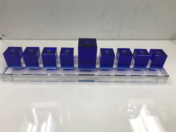 Modern Crystal menorah blue or clear