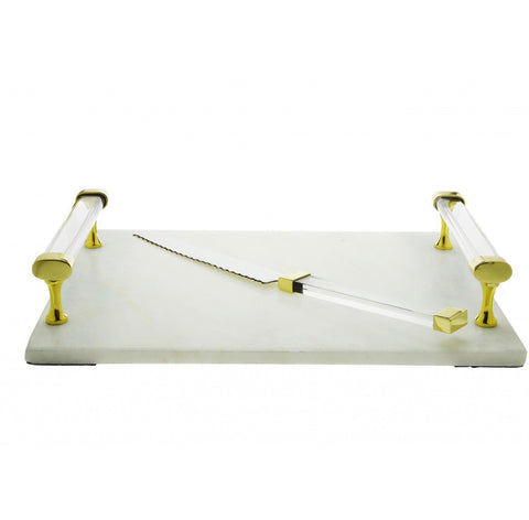 White Marble Challah Board with Knife with Acrylic Handles