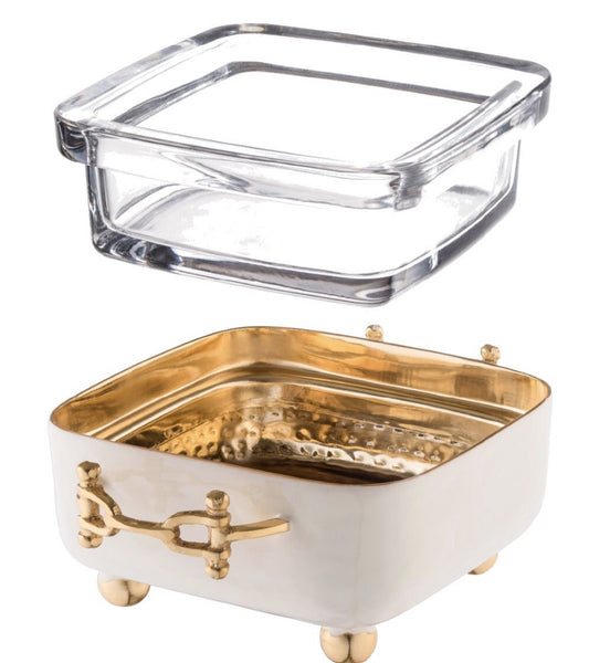 Decorizer Hammered square Ivory Enamel with Gold buckle dip bowl