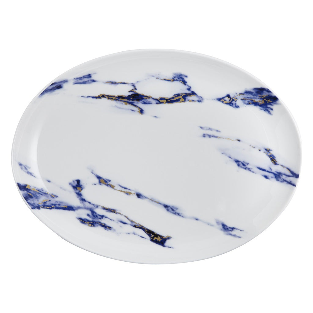 "Marble 14"" Oval Platter, Azure by Prouna"