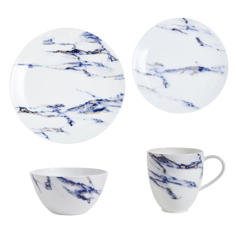 Marble 4 Piece Set (Dinner, Salad, Mug, Cereal Bowl), Azure by Prouna