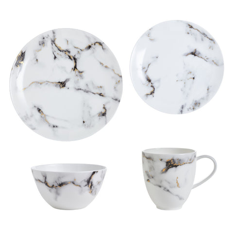Marble 4 Piece Set (Dinner, Salad, Mug, Cereal Bowl), Venice Fog by Prouna