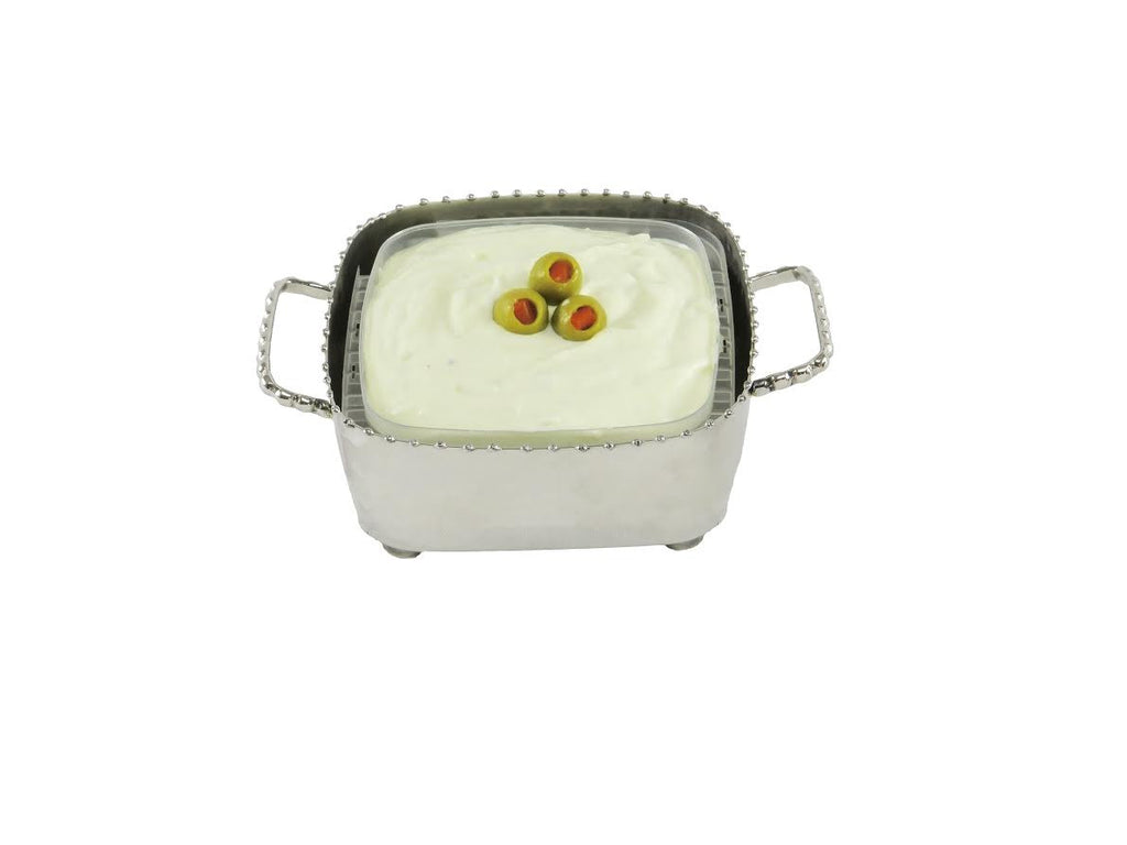 Small and large square container bowl with drop beading