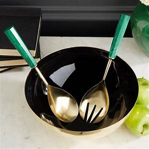S/2 Malachite Serving Set Stainless Steel/Resin