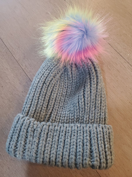 Grey/Multicolour Pom Pom Hat