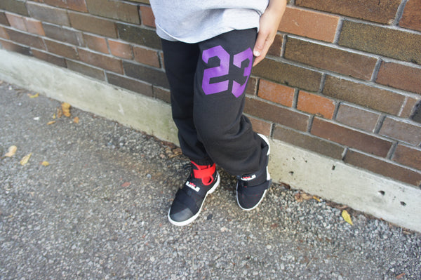 23 Youth Sweatpant (Black with Purple)