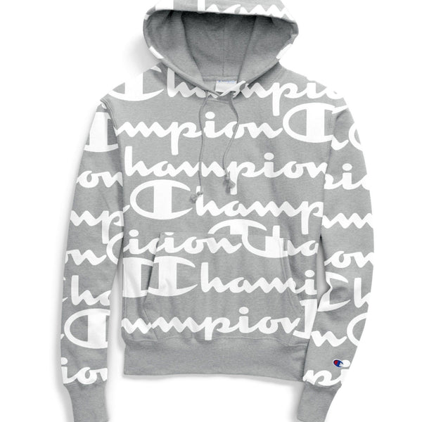 Men's Champion Logo Hoodie - Grey