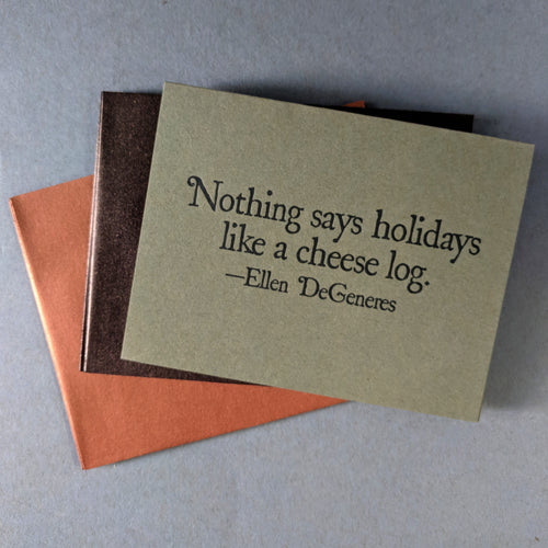 Ellen Degeneres Cheese Log Holiday Card